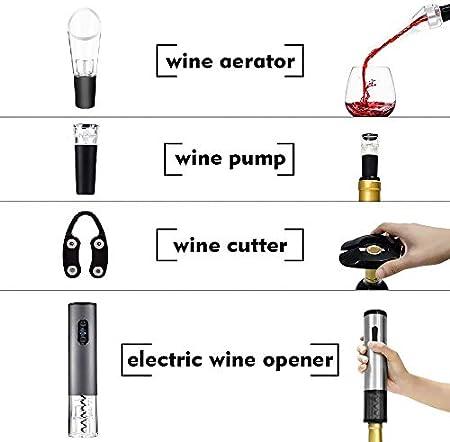Aceown - Juego de sacacorchos eléctrico, abrebotellas automático, abrebotellas inalámbrico, de acero inoxidable, abrebotellas de vino y abrebotellas de vino