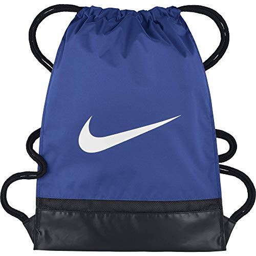 - Nike Brasilia Training Gymsack, Drawstring Backpack with Zippered Sides, Water-Resistant Bag, Game Royal/Black/White