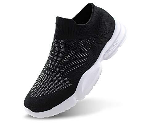 Jabasic Women Breathable Athletic Knit Shoes Casual Slip On Walking Sneakers(9.5,Black)