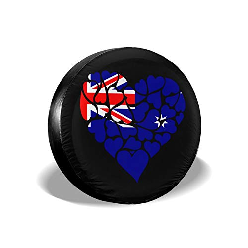 Ybdr94K@ Spare Tire Cover Australia Flag Heart Love Durable Universal Wheel Covers for Trailers, RV, SUV, Trucks and Many Vehicle, 14