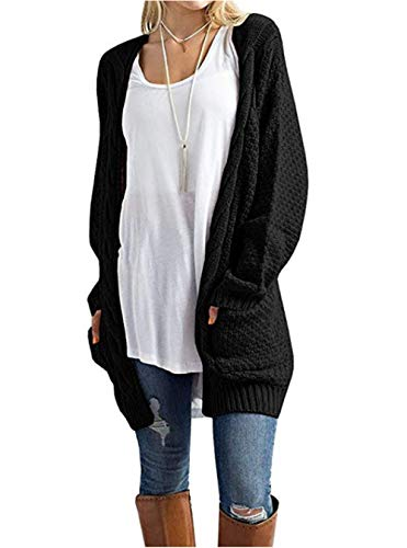 S-4XL Women Cable Knit Open Front Sweater Cardigan Warm Jacket Casual Outerwear Black