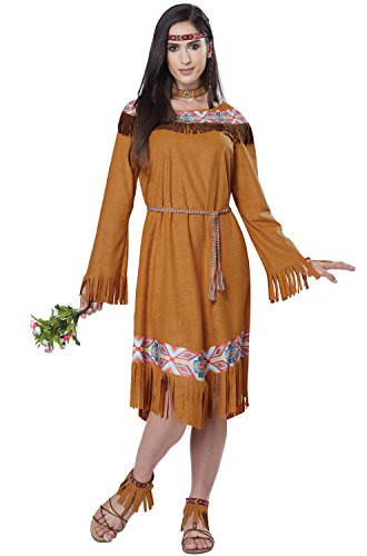 Maiden Indian Costume (California Costumes Women's Classic Indian Maiden, Tan, X-Large)