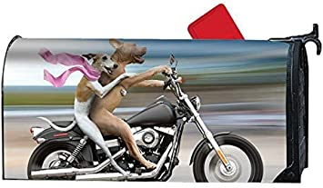 Yard Decorations Suitable for Spring MALBX Humor Dog Motorcycle Magnetic Mailbox Covers Summer Fall//Autumn and Winter