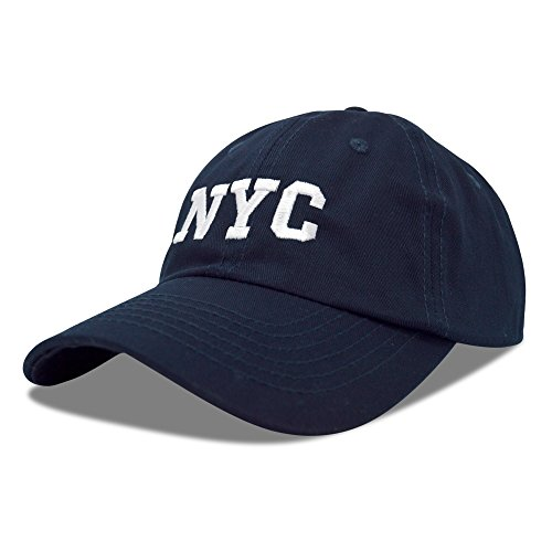 Mlb Logo Caps - DALIX NY Baseball Cap NY Hat New York City Cotton Twill Dad Hat in Navy Blue