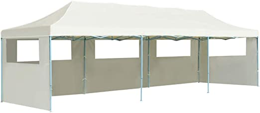 Wakects - Carpa plegable de exterior con 5 paneles laterales, 3 x 9 m, carpa de jardín, tienda de ceremonia, impermeable, tienda de jardín plegable con cuerdas, beige: Amazon.es: Hogar