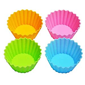 Set Of 4 Eco Re-Usable Silicon Bento Box Food Cup Jelly Mold