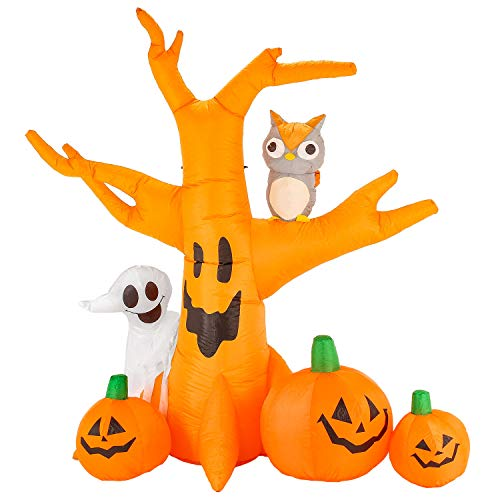 Halloween Haunters 8 Foot Inflatable Haunted Dead Tree Scary Face Spooky Ghost, Pumpkins, Owl LED Lights Indoor Outdoor Yard Lawn Prop Decoration - Blow Up Graveyard House Party Display