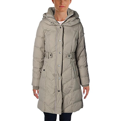 DKNY Womens Down Quilted Parka Taupe - Dkny Coats Down