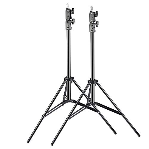 UTEBIT 2m Light Stands Heavy Duty 2 Pack with 1/4 Screw 7 Ft Photo Lighting Stand Adjustable 80cm-200cm Folable Photography LED Stage Video Tripod Stand Kit for Softbox Flash Photography Studio
