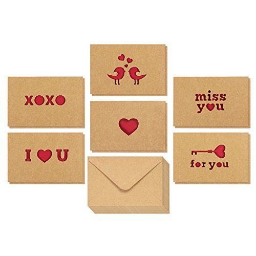 12-Pack Love Cards - Romantic Greeting Cards for Valentines Day, Anniversaries, 6 Assorted Kraft Card Designs with Miss You, I Love You and Other Die Cut Designs, Brown, 4 x 6 Inches