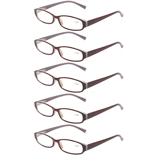 Reading Glasses Comb Pack of Multiple Fashion Men and Women Spring Hinge Readers (5 Pack Brown, 0.5)