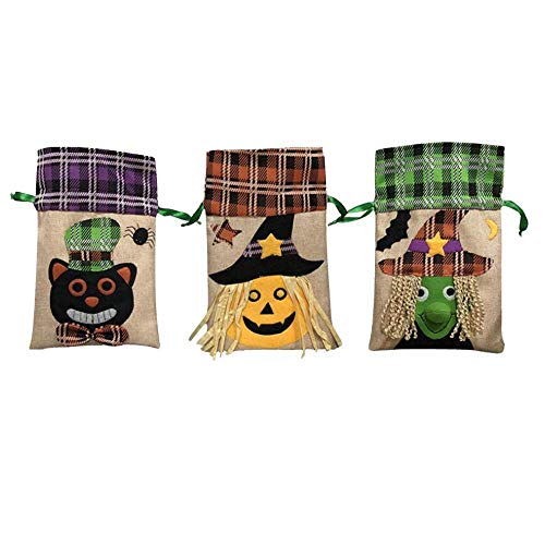 OGOUGUAN 3 Pieces Halloween Tote Bags - Reusable Grocery Candy Trick or Treat Tote Bags Party Favor Decoration Bags ()