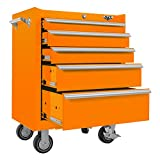 Viper Tool Storage V2605ORR 26-Inch 5-Drawer 18G Steel Rolling Cabinet, Orange