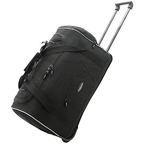 Travelers Club Adventure Rolling Duffel Carry-On Luggage, Black, Black ()