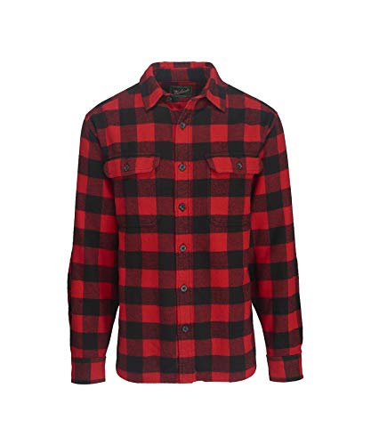 (Woolrich Men's Oxbow Bend Flannel Shirt, Black/Red)