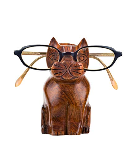 Matr Boomie Cute Handmade Rosewood Cat Eyeglass Spectacle Holder Stand Display Optical Glasses Accessories