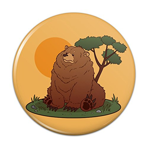 Chubby Grizzly Bear Pinback Button Pin Badge - 2.25