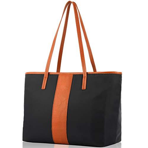 Handbag Casual Brown - fioritura Women Leather Shoulder Bag, Lightweight Tote Bag Nylon Top Handle Bag Casual Handbag - Brown/Orange