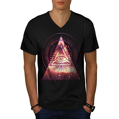 wellcoda Illuminati Galaxy Men Black 2XL V-Neck T-Shirt