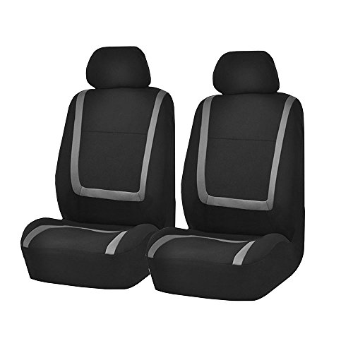 FH Group FH-FB32102 Unique Flat Cloth Seat Covers, Gray/Black- Fit Most Car, Truck, SUV, or Van