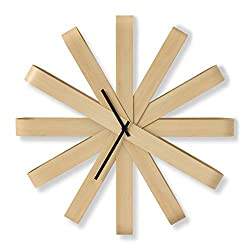 Umbra Ribbonwood Large Modern Wall Clock, Natural