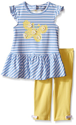 Butterflies Capri Girls Baby Clothes (Little Me Toddler Girls' Butterfly Tunic With Capri Set, Blue Stripe, 2T)