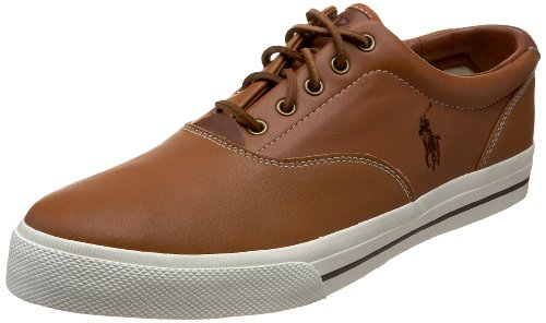 Polo Ralph Lauren Men's Vaughn Leather Sneaker, Tan Leather, 8 D - Sneakers Canvas Leather