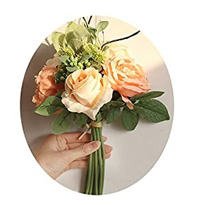 Endand Rose Bouquet Artificial Flower Home Decoration Wedding Holding Flower Road Lead Fake Flower Valentine's Day Present,Peach Pink 58