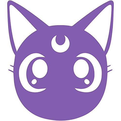 CrazyWEN-Sticker-Sailor Moon Luna Cat Face Decal Sticker Car Truck Window Die Cut Vinyl (Purple) -
