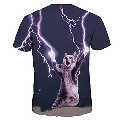 ColorFino Unisex Funny 3D Printing Lightning Cat T-shirt Hipster Clothing