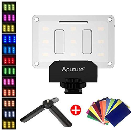 Aputure Amaran AL-M9 Pocket Vlog LED Video Light on Camera + 12 pcs Color Gel Filters + ULANZI Tabletop Tripod, Mini Photography Fill Lighting 5500K LED for Sony A6400 A6300 Canon Nikon DSLRs