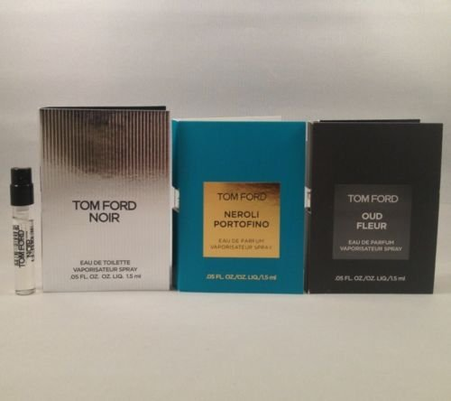 3 Tom Ford Noir, Neroli Portofino, Oud Fleur .05 Oz/1.5 Ml for Men Spray Vial Sample (Tom Ford Neroli Portofino Eau De Toilette)