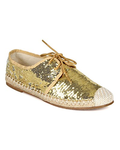 Nature Breeze Women Sequinned Fabric Espadrille Capped Toe Lace Up Flat CA76 - Gold (Size: 7.5) by Nature Breeze