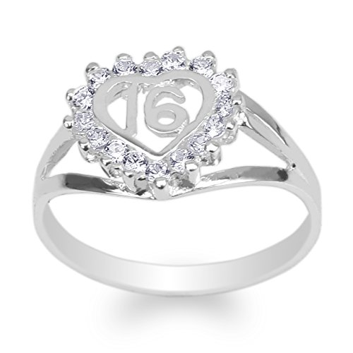 JamesJenny Womens 925 Sterling Silver Round CZ Sweet 16 Beautiful Heart Ring Size -