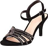 Cambridge Select Women's Open Toe Strappy Crystal Rhinestone Mid Heel Dress Sandal,8 B(M) US,Black NBPU