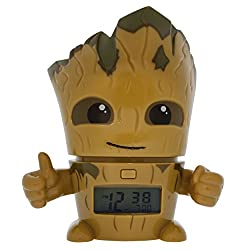 BulbBotz Marvel Guardians of the Galaxy Vol.2 Groot Kids Night Light Alarm Clock with Characterized Sound | brown/green| plastic | 5.5 inches tall | LCD display | boy girl | official