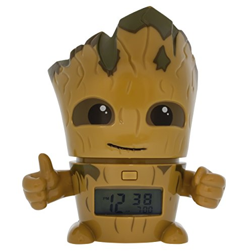 BulbBotz Marvel 2021340 Guardians of the Galaxy Vol.2 Groot Kids Night Light Alarm Clock with Characterized Sound | brown/green| plastic | 5.5 inches tall | LCD display | boy girl | official