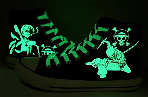 Anime Piece Sanji Cosplay Sneakers Shoes One Canvas Luminous Choices Zoro Shoes 3 Black C5d6qx1w