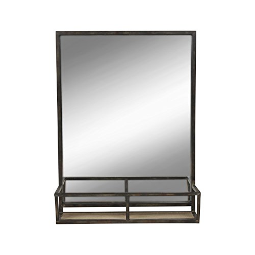 Kate and Laurel Jackson 22x29 Distressed Metal Mirror with Wood Shelf, Black (Framed Mirrors Metal Decorative)