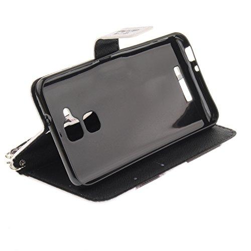 Funda Asus Zenfone 3 MAX ZC520TL,SainCat Funda de cuero sintético tipo billetera con correa de cordón de Suave PU Carcasa Con Tapa y Cartera,Ranuras para Tarjetas y Billetera Funda de Flip Ranuras Tar Panda