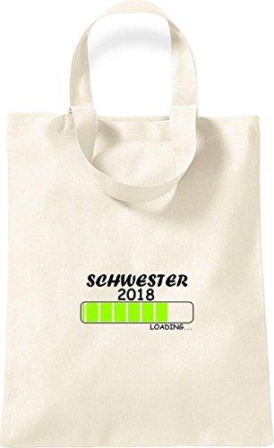 ShirtInStyle kleine Bolsa de algodón SCHWESTER 2018 Cargando Nacimiento Regalo - Rojo, 26 cm x 32,5 cm natural
