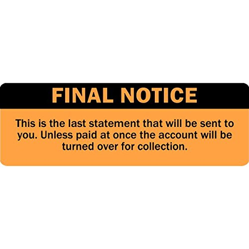Final Notice Labels / Stickers - 500 Labels Per roll