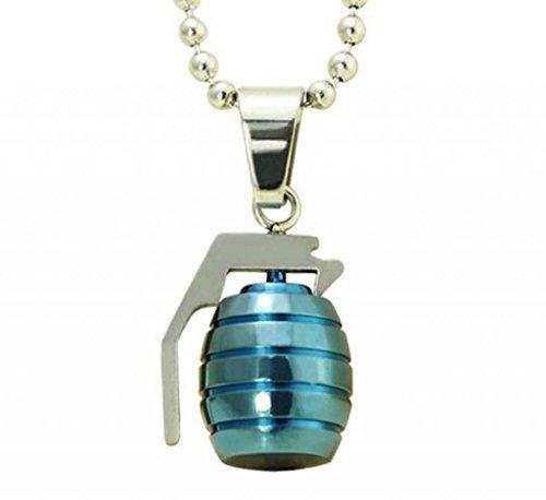 AMDXD Jewelry Titanium Stainless Steel Unisex Fashion Pendant Necklace Grenades Gray-Blue Length 60CM