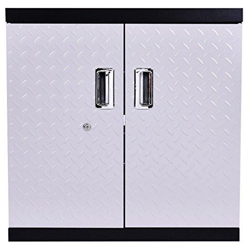 Door Single Deep Wine Cabinet (New 2 Shelves Tool Garage Steel Wall Mount Cabinet Metal Storage Box Organizer)