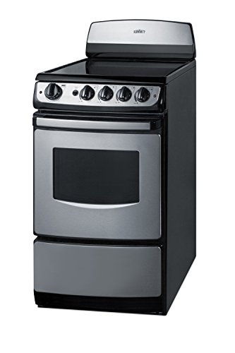 """Summit FBA REX207SS White Pearl 20"""" Electric Range with Cera"""