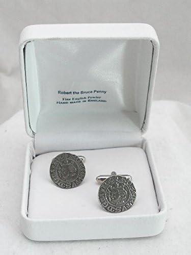 Boutons de Manchette Pi/èce de Monnaie de Robert the Bruce roi /écossais avec Bo/îte /à Cadeau