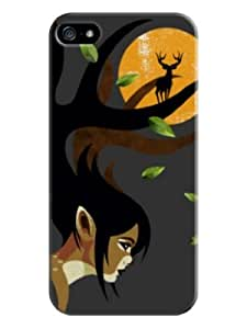 Sangu Deer on Hair Hard Back Shell Case / Cover for Iphone 5 and 5s - Davy Gray