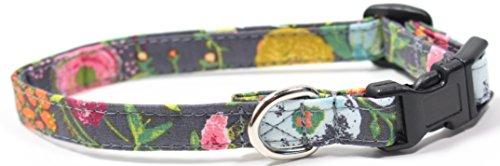 Rosey Posey, Designer Cotton Dog Collar, Adjustable Handmade Fabric Collars (XS)