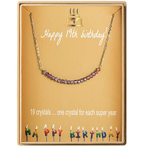 19th Birthday Gifts Necklace for Women S925 Sterling Silver Necklace 19 Crystal Beads for 19 year old Girl Jewelry Gift for Her