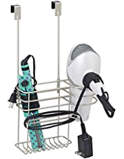 mDesign Metal Over Door Hair Care & Styling Tool Storage Organizer Basket for Hair Dryer, Flat Iron, Curling Wand, Hair Straightener, Brush - Hang Inside or Outside Cabinet Doors, 2 Sections - Satin